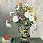 Chrysanthemums In A Chinese Vase Art Print by Camille Pissarro