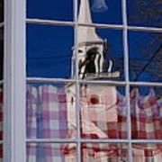 Church In Cafe Window Art Print