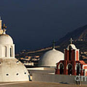 Churches In Fira Greece Art Print