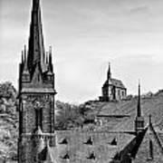 Churches Of Lorchhausen Bw Art Print