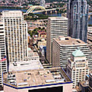 Cincinnati Aerial Skyline Downtown City Buildings Art Print