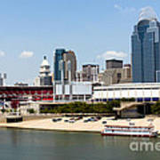 Cincinnati Ohio Skyline And Riverfront Art Print