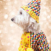 Circus Clown Dog Art Print