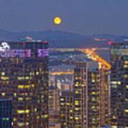 City And Moon Art Print