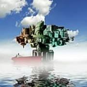 City At Sea, Artwork Art Print by Victor Habbick Visions