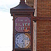 City Clock In Silver City Nm Art Print
