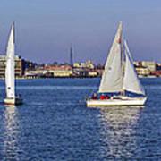 City Harbor Sailing Art Print