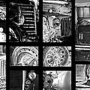 Classic Car Collage In Black And White Art Print