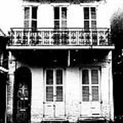 Classic French Quarter Residence New Orleans Black And White Conte Crayon Digital Art Art Print