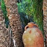 Clay Jar By Palm Tree Art Print