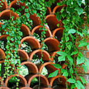 Clay Pattern Wall With Vines Art Print