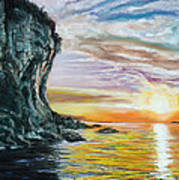 Cliff Sunset Art Print by Peter Jackson