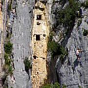 Climber Near Prehistoric Cliff Dwelling Art Print