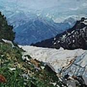 Climbing Mount Rainier Art Print