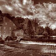 Clinton Red Mill House Sepia Art Print