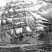 Clipper In The Storm Filtered Art Print