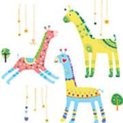 Close-up Of Giraffes Art Print