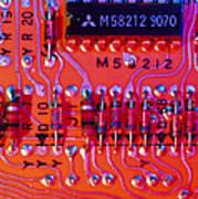 Close-up Of Printed Circuit Board Art Print