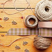 Close Up Of Ribbon, String And Shapes Art Print