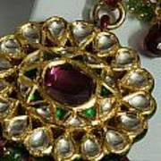 Close Up Of The Gold And Diamond Setting Of A Large Necklace Art Print by Ashish Agarwal