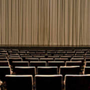 Closed Curtain In An Empty Theater Art Print