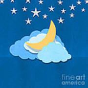 Cloud Moon And Stars Design Art Print