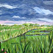 Cloudy Marsh Art Print