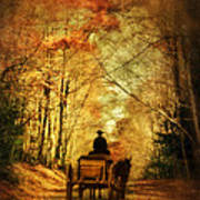 Coach On A Road In Autumn Art Print