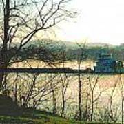 Coal Barge In Ohio River Mist Art Print by Padre Art