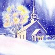 Coastal Church Christmas Art Print