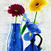 Cobalt Blue Glass Bottles And Gerbera Daisies Art Print