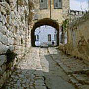 Cobbled Street In Safed Art Print