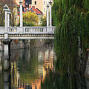 Cobblers Bridge And Morning Reflections In Ljubljana Art Print by Greg Matchick