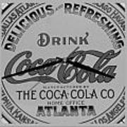 Coca Cola Clock In Black And White Art Print