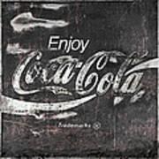 Coca Cola Pink Grunge Sign Art Print
