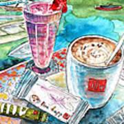 Coffee Break In Agios Nikolaos In Crete Art Print