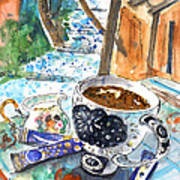 Coffee Break In Elos In Crete Art Print