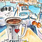 Coffee Break In Heraklion In Crete Art Print