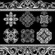 Coffee Flowers Ornate Medallions Bw 6 Piece Collage Framed  Art Print