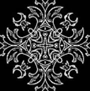 Coffee Flowers Ornate Medallions Bw Vertical Tryptych 1 Art Print