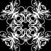 Coffee Flowers Ornate Medallions Bw Vertical Tryptych 2 Art Print