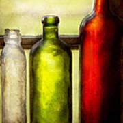 Collector - Bottles - Still Life Of Three Bottles  Art Print