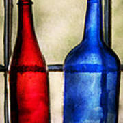 Collector - Bottles - Two Empty Wine Bottles  Art Print