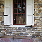 Colonial Shutters Window Frame Stone Wall Wood Box Art Print