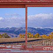 Colorado Country Red Rustic Picture Window Frame Photo Art Art Print