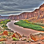 Colorado River Flows Through A Stormy Moab Portal Art Print