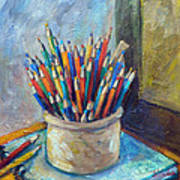 Colored Pencils In Butter Crock Art Print by Jean Groberg