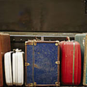 Colorful But Worn Luggage Awaits Art Print