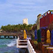 Colorful Cozumel Cafe Art Print