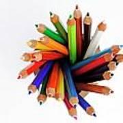 Colorful Crayons In Jar Art Print